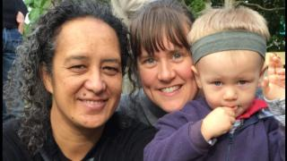 Fi (left) and Katie McMenamin are grateful son Nikau's profound hearing loss was picked up through screening follow-up.