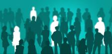 silhouettes of people sorted into two groups
